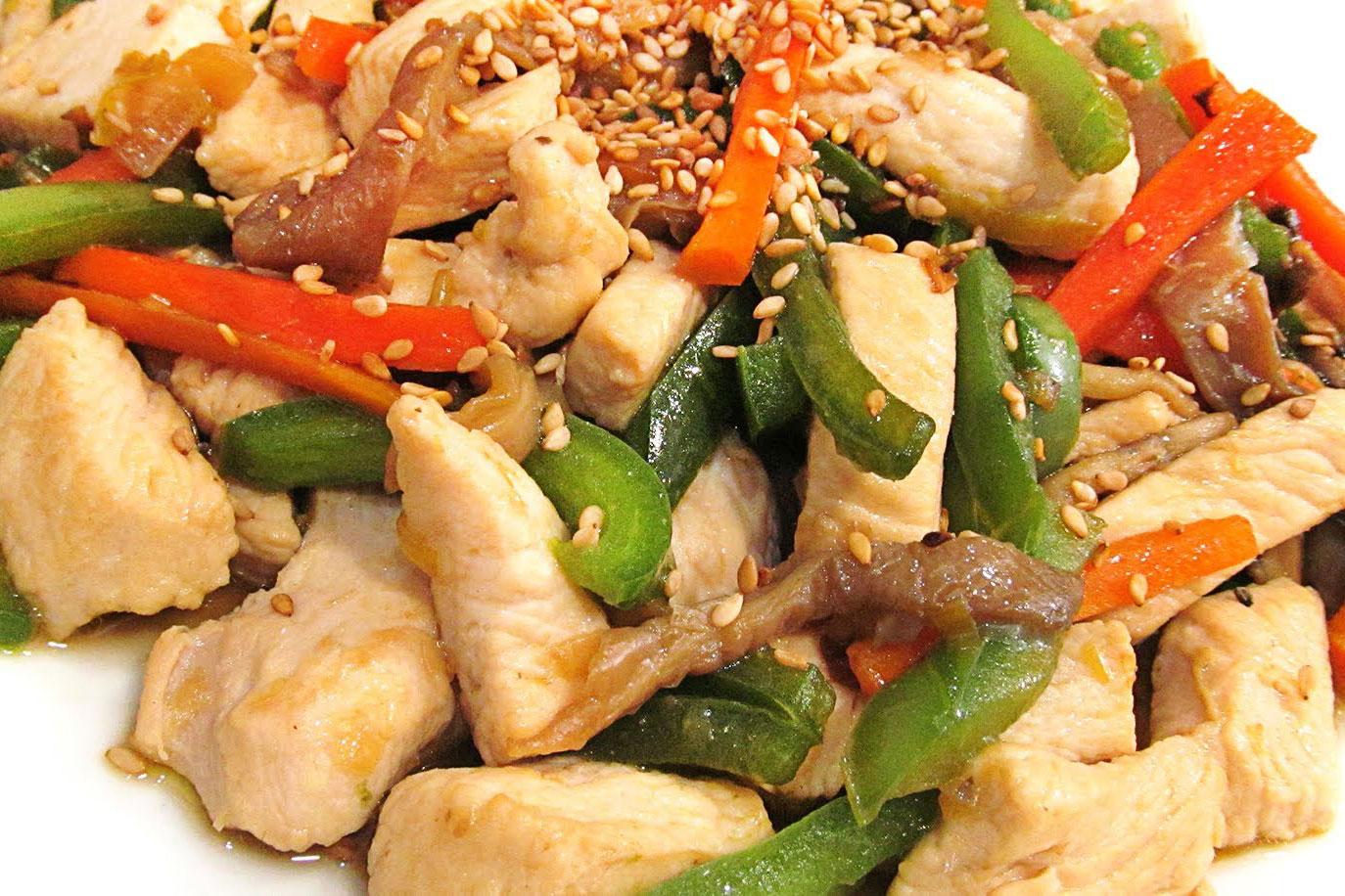 Pollo salteado con verduras oriental - Arroz salteado con pollo ...